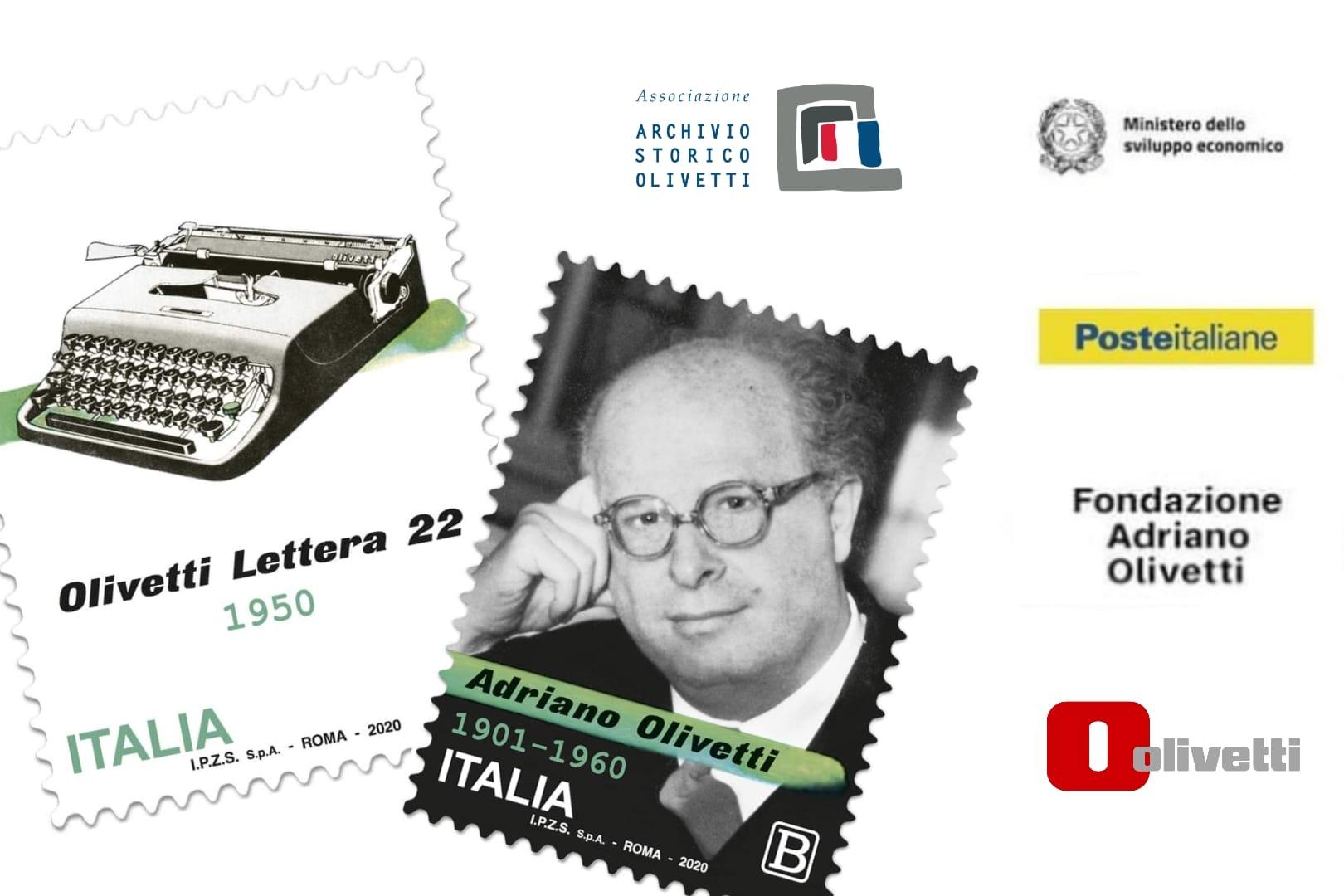Due francobolli per la Lettera 22 e per Adriano Olivetti